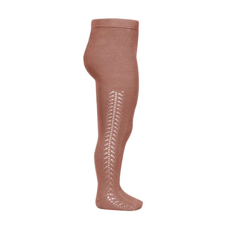 Condor Tights med hullmønster i siden Terracotta